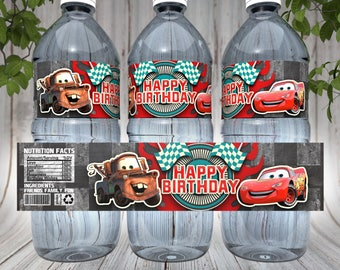 Disney Cars water bottle labels, Cars Printable labels, Disney Cars Party decorations, Cars Movie Printable Decoration, Cars Party Supplies
