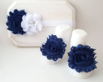 Light Navy Blue and White Headband with Matching Barefoot Sandals - Navy Blue Barefoot Baby Sandals - Navy Blue Headband - Infant Headbands