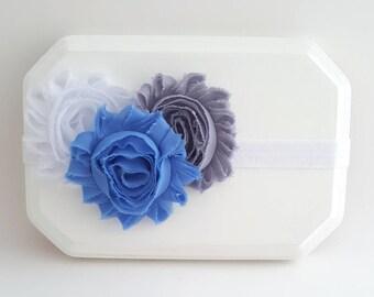 Shabby Flower Headband, Gray and Blue Baby Headband, Gray Headband, Blue Headband, White Headband, Newborn Headband, Baby Girl Headband