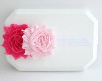 Hot Pink and Light Pink Flower Headband,Newborn Headband,Infant Headband,Pink Headband,Hot Pink Headband,Baby Girl Headband,Pink Cake Smash