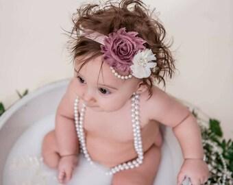 Mauve and Ivory Baby Headband - Mauve Headband - Shabby Chic Headband - Ivory Baby Headband - Newborn Headband - Baby Girl Headband