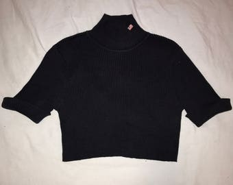 90s RALPHLAUREN Navy Ribbed Crop Turtleneck