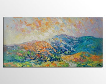 Oil Painting Landscape, Canvas Art, Bedroom Wall Art, Original Abstract Art, Mountain Landscape Painting, Heavy Texture Oil Painting