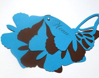 Petite Butterfly - themed Butterfly shape turquoise blue and chocolate