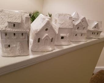 Vintage Creative Crafts Village Homes and Businesses White Plaster Buildings Ready to Paint with Color Chart