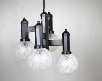 BLACK GEOMETRIC CHANDELIER Vintage Pop style Late Mid Century Ceiling Light Four Arms