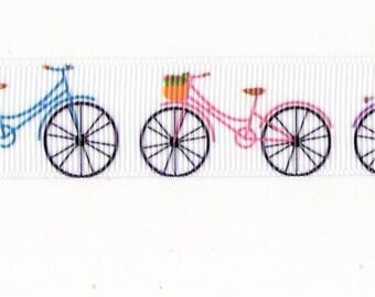 Ruban gros grain blanc imprimé de vélos multicolores /  22mm.