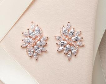 Rose Gold or Silver Statement Earrings, Wedding Earrings, Cubic Zirconia Earrings