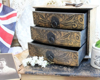 Pretty Mini Wooden Chest of 3 Drawers Habberdashery Work Room Storage