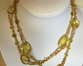 10% SALES Long Citrine Gemstone Necklace, Citrine and Peridot Necklace, Multi Gemstone Silver Necklace, 18k yellow gold-plated, Length 92cm