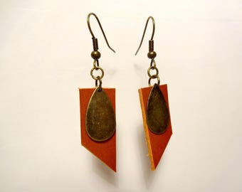 Bronze colored leather and drop earrings