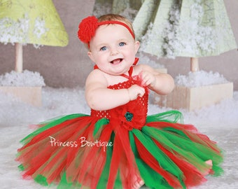 Babies First Christmas Dress, First Christmas Outfit, Christmas Tutu Dress, Red Green Tutu Dress, Christmas Photo Prop Outfits, Baby Clothes
