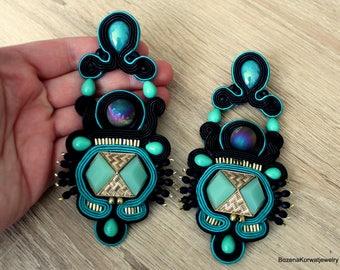 Black & emerald  soutache earrings