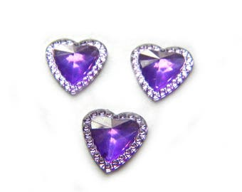 20 Purple Rhinestone Heart Resin Flatbacks - Resin Cabochons