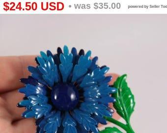 Blue Flower Brooch Vintage Large Blue Enamel Daisy Brooch