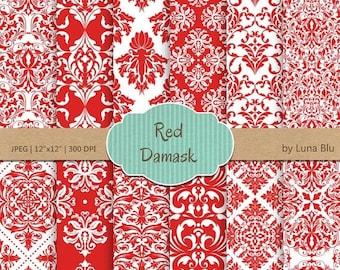 "SALE 50%OFF Red Damask Digital Paper: ""Red Damask Patterns"" red digital paper, for cardmaking, invitations, red scrapbooking paper"