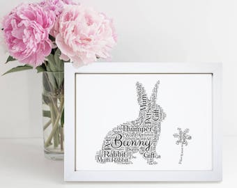 Personalised Bunny Rabbit Animal Pet Word Wall Art Picture Cloud Gift