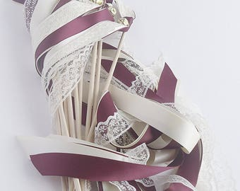 50 wedding wands burgundy and ivory with lace with bells send off streamers