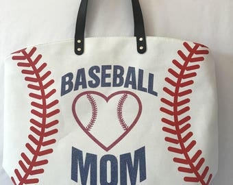 X Large 22 Inches Baseball Mom Lover Print Lace Stripes Stitching Print Canvas Tote Bags Sports Girls Shopping Bag