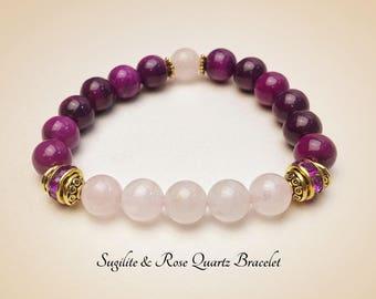 Gemstone Bracelet. Sugilite Bracelet. Rose Quartz Bracelet. Healing Bracelet. Mala Yoga Bracelet. Protection Bracelet. Prayer Beads #M142