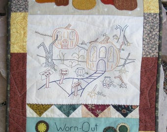 """Primitive Folk Art Wool Cotton Applique Embroidery Pattern - """"Worn-Out Witches"""" Gathering""""  Quilt Quilting Halloween Pumpkins"""