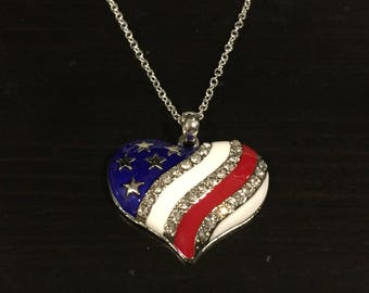 USA American Flag Patriotic Heart Rhinestone Necklace Great for 4th of July