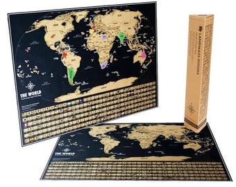 Scratch off Map - Scratch where you've been on the Travel Tracker Map ® - Black and Gold