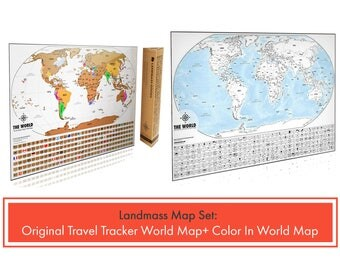 2 Travel Tracker World Maps - 1 Original Scratch off World Map & 1 XL Color In World Map - Scratch and Color - Perfect Gift for Travelers