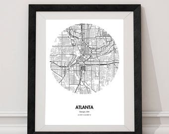 Atlanta Map Poster - 18 by 24 inch City Map Print - ATL Georgia City Map Prints - Black and White Home Decor - Gift Ideas for Travelers