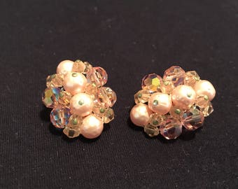 Vintage Clip On Costume EARRINGS - Pink Beads  - vintage - collectible