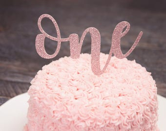 One Cake Topper - First Birthday Cake Topper - Smash Cake Topper - Glitter One Cake Topper - One Year Old - First Birthday Photo Prop