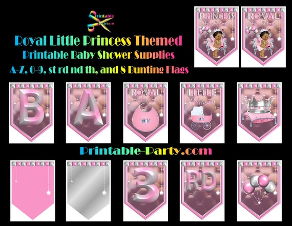 Printable African American Royal Little Princess Pink Baby Shower