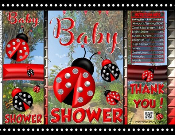 Printable Potato Chip Bags Little Lady Bug Red Black Girl Baby