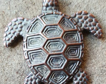 Large Mykonos Greek Sea Turtle Pendant, 43mm - Select Bronze or Green Patina
