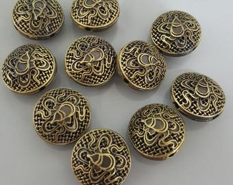 Flat Round Brass Beads with Flower, 11.5x17.5~18mm - 6 Beads