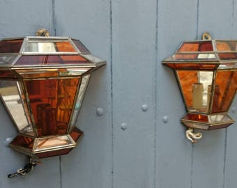 French vintage pair of stunning lantern style wall lights with glass panels., circa 1970s