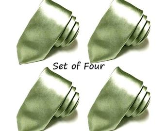 "Pear Green Tie Set of Four Skinny Tie Set of 4 Groomsmen Neckties 1.75"" Wedding Groomsman Best Man Father of the Groom Clearance SALE"