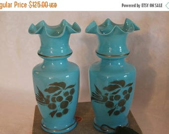 "SALE Pair of Antique Victorian Bristol Blue Opaline Glass 7.5"" Vases with Beautiful Gold Birds and Grapes"