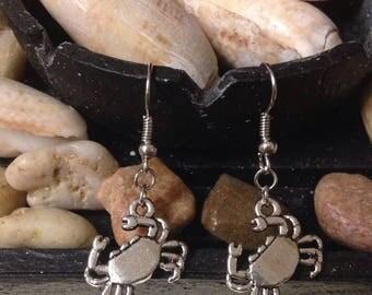 Silver Crab Beach Dangle Earrings - Nickel Free