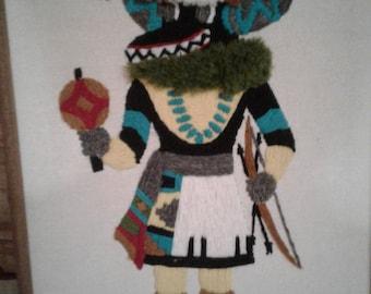 """Vintage 1980's Kachina Needlepoint/Titled the Black Ogre Kachina"""""""