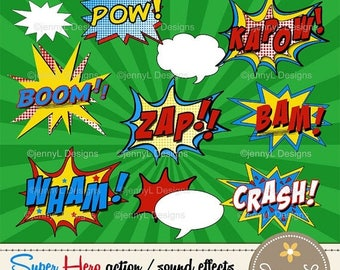 50% OFF Superhero Comic Sound Effects clipart, Super Hero words, Comics, Cartoons, Comic Book, Action Words, also as Printable Party Booth i