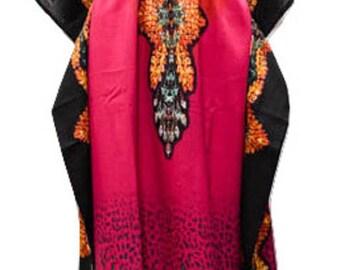 Plus Size Abstract Snake Skin Summer Print Drawstring Batwing Sleeve Kaftan Pink