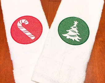 Ready to ship! Hand towels embossed embroidered Christmas tree and candy cane set.