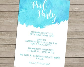 SALE 25% OFF Watercolor Pool Party Invitation