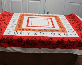 Orange and Red Geometric Vintage Kitchen Tablecloth
