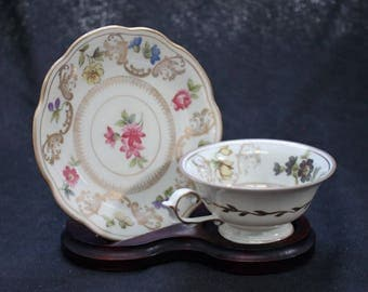 Floral Schwarzenhammer Demitasse China Tea Cup and Saucer US Zone Germany