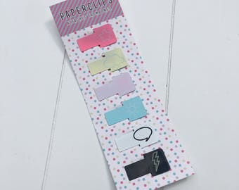Set of 6 doodle paperclips bookmarks (PA01)