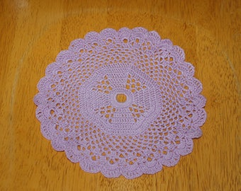 "Hand Crafted DOILY - 8"" Lavender/Purple Hand Crocheted Doily"