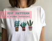 Hand embrodery on clothing pattern, embroidery pattern, DIY embroidery, PDF pattern, embroidery tutorial, embroidery desings, embroidery pdf