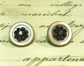 2 small Antique carved MOP shell steel cut buttons 16 mm